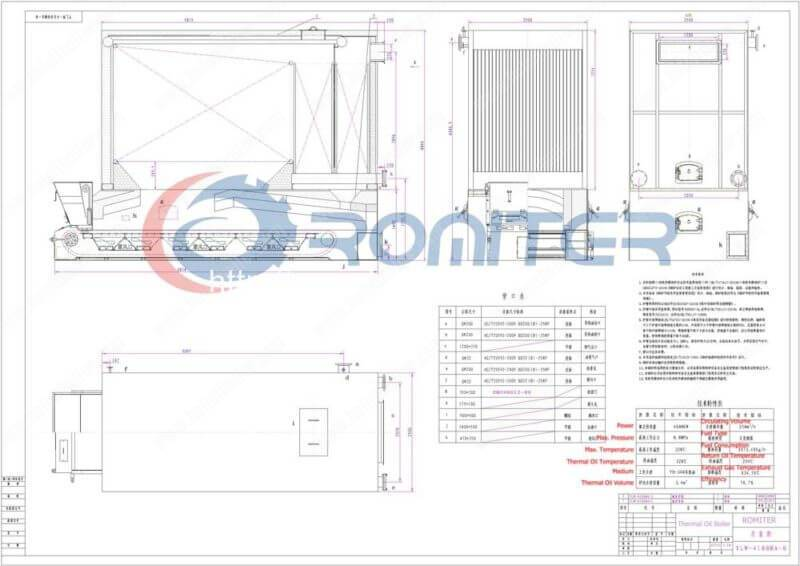 YLW-4.1MW-Chain-Grate-Coal-Fired-Thermal-Oil-Boilers-Structure-Drawing
